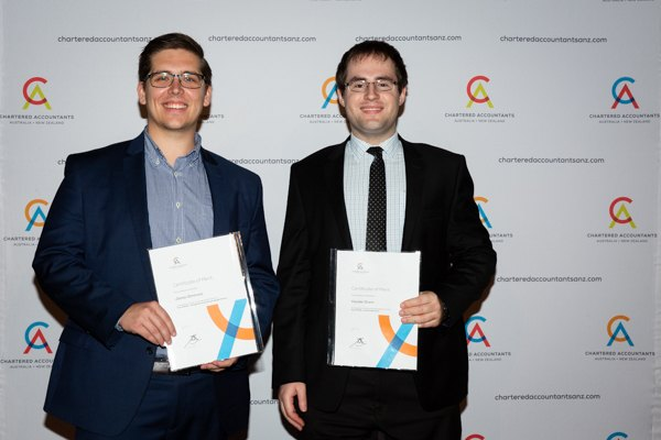 James Simmons and Hayden, QAO, CA ANZ awards ceremony, March 2019.