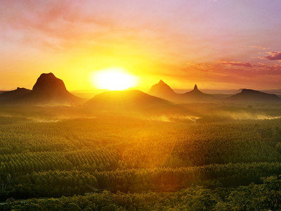 Glasshouse Mountains, Queensland, at sunset