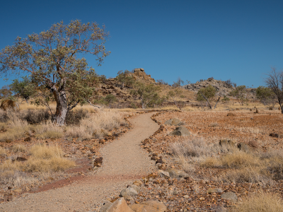 Dirt footpath in outback Queensland landscape