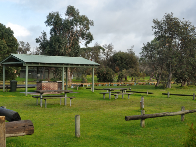 Park with BBQ facilities.