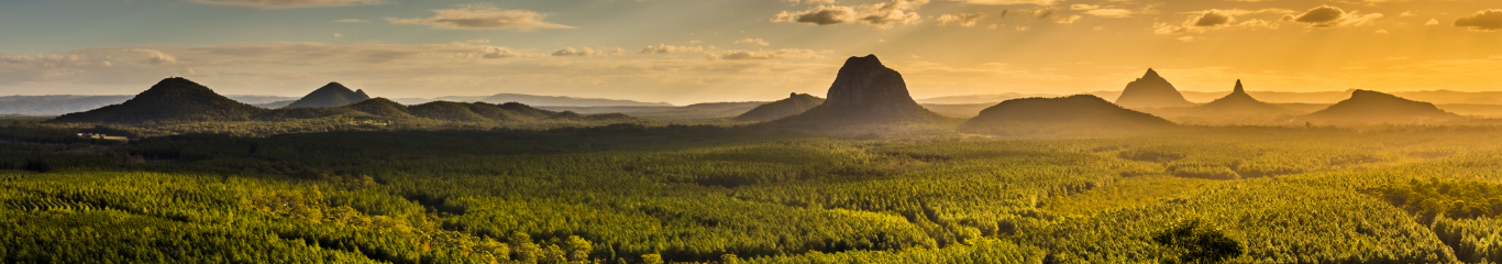 Panorama of the Glasshouse Mountains at sunset